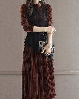 Stand Collar Midi Dress Pleated Dress