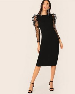 Star Print Puff Sleeve Long Sleeve Elegant Bodycon Party Dress
