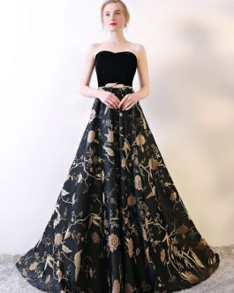 Strapless Floral Embroidered Prom Gown