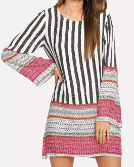 Striped Shift Flared Sleeve Printed Dress
