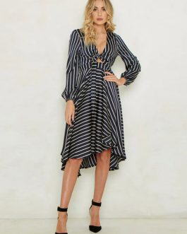 Striped Skater V Neck Knotted Puff Sleeve Dress