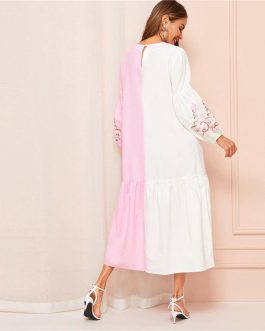 Two Tone Embroidery Lantern Sleeve Ruffle Hem Dress