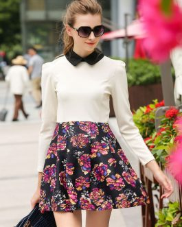 Two-Toned Print Ruffles Chic Flared Dress for Women