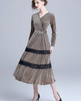 V Neck Lace Two Tone Party Dress