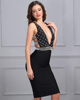 Sexy V Neck Sleeveless Bodycon Knee Length Celebrity party dress