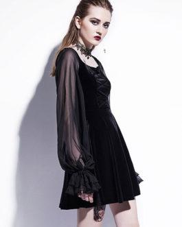 Velour Long Sleeve Square Neck Flared Dress