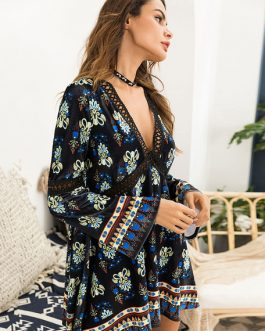 Velvet Shift V Neck Bell Sleeve Printed Mini Dress