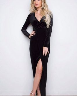 Velvet V Neck Split Long  Maxi Dress For Women