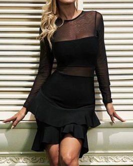 Vestido Evening Party Long Sleeve Bodycon Bandage Dress