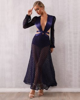 Vestidos Elegant Lace Long Sleeve Celebrity Club Dress