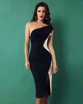 Vestidos  One Shoulder Side Split Celebrity bodycon dress