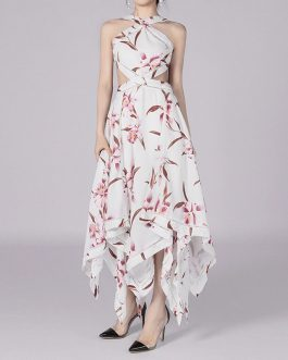 Vestidos Sexy Flower Print Backless Celebrity Evening Party Club Dress