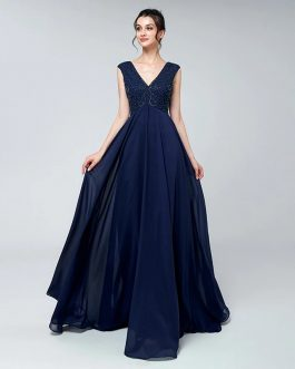 Vintage Beading  Chiffon V-Neck Long Zipper Back Prom Party Gowns
