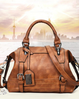Vintage PU Leather Boston Handbag Shoulder Bag Crossbody Bags For Women