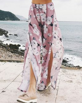Wide Leg Pants Floral Print Split Chiffon High Waisted Trousers