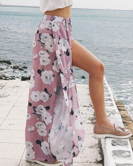Wide Leg Pants Floral Print Split Chiffon High Waisted Trousers