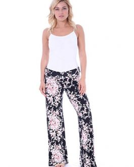 Wide Leg Pants Printed Elastic Waist Pyjama Lounge Pants