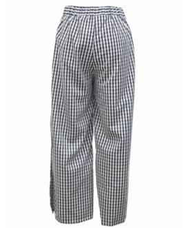 Wide Leg Plaid Pants Black Split Lace Up Elastic Waist Pants For Women