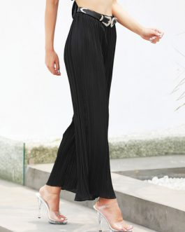 Wide Leg Trousers Pleated Chiffon Pants For Women