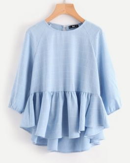 Woman Three Quarter Length Sleeve Plaid Blouse