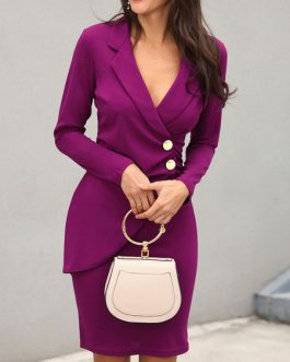 Woman's Bodycon Buttons Polyester Cotton Wrap Dress