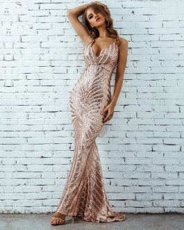 Women Backless Spaghetti Strap Sequin Celebrity Long Maxi Dress