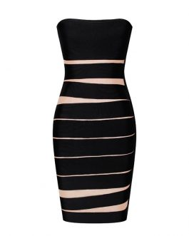 Women Bandage Strapless Bodycon Party Dress Vestidos Mini Dress