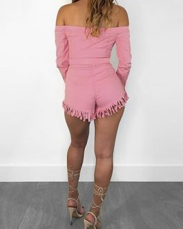 Women Bandeau Style Button Front Crop Top And Fringed Shorts