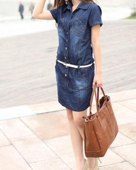 Women Belted Short Sleeve Denim Mini Dress