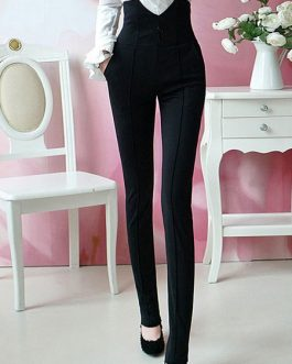 Women Black Pants High Waist Slim Fit Skinny Leggings