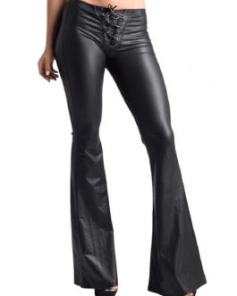 Women Black Pants Lace Up PU Leather Drawstring Flared Leg Trousers