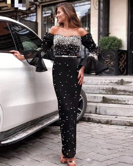 Women Bodycon Pearls Lace Sexy Long Sleeve Party Dress