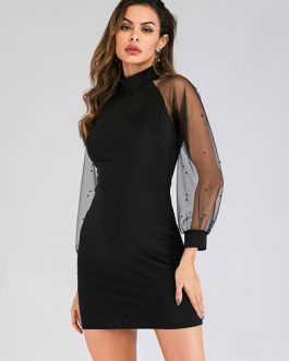 Women Bodycon Tulle Beaded Shaping Mini Dress