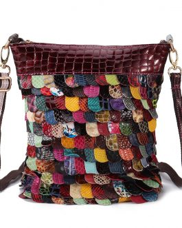 Women Bohemian Floral Genuine Leather Handbags Bright Crossbody Bags