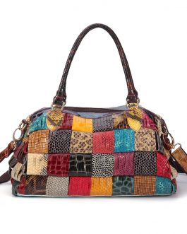 Women Bohemian Large Capacity Genuine Leather Handbags Patchwork Handmade Crossbody Bags