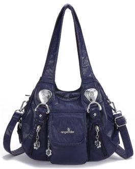 Women Casual Soft Leather Handbag Multi-Pockets Crossbody Bag