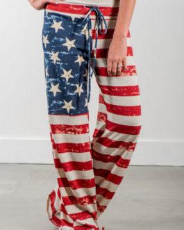 Women Cotton Pants Flag Print Drawstring Casual Pants