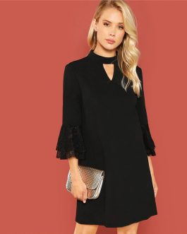 Women Cut Out Front Eyelash Lace 3/4 Sleeve Workwear Dress