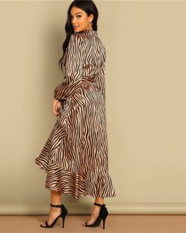 Women Deep V Neck Belted Fit and Flare Flounce Animal Zebra Print Dress