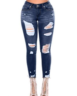 Women Denim Jeans Distressed High Waist Ripped Jeans