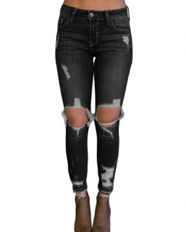 Women Denim Jeans Distressed Skinny Ripped Jeans