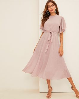 Women Dresses Stand Collar A Line Half Sleeve Dresses
