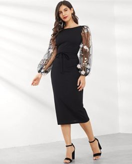Women Elegant Casual Boat Neck Bishop Sleeve Pencil Dresses