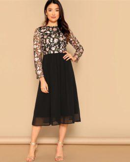 Women Elegant O-Neck Long Sleeve Floral Embroidered Long Dress