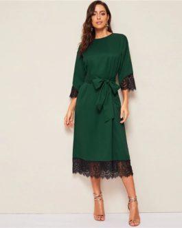 Women Elegant Solid Office Lady Straight Dresses