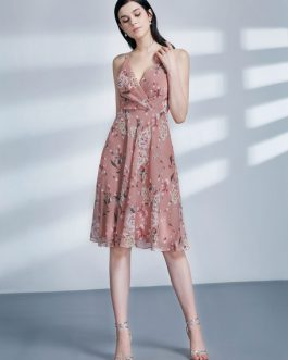 Women Floral Print Blush V Neck Chiffon Mini Dress