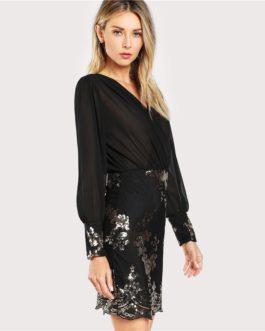 Women Floral Sequin Long Sleeve Slim Elegant Party Dress