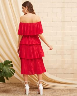 Women Foldover Front Off Shoulder Layered Pleated Glamorous Dress