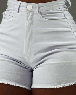 Women Frayed Edges Mini Denim Shorts