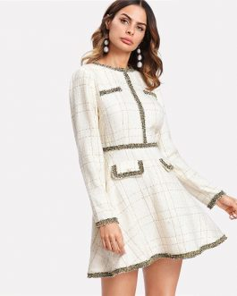 Women Fringe and Pearl Embellished Long Sleeve Tweed Dress